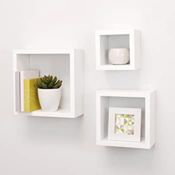 Nexxt Cubbi Contemporary Floating Wall Shelves 5 by 5 inch, 7 by 7 inch 9 by 9 inch White Set of 3