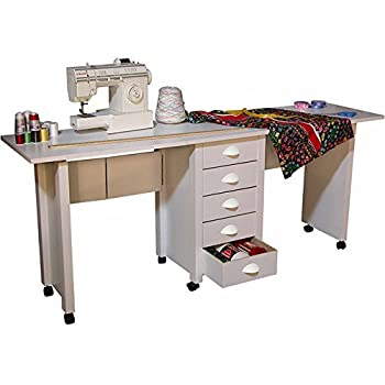 Double Mobile Desk & Work Center - White