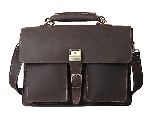 Polare Classic Vintage Crazy Horse Cowhide Leather Men's Briefcases Messenger Bag
