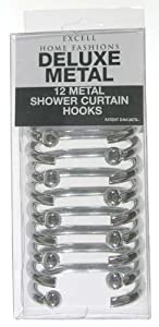 Ex-Cell Shower Curtain Hooks Metal Silver