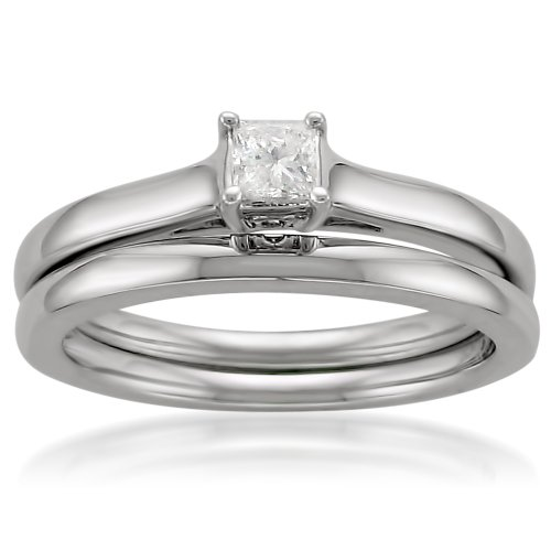14k White Gold Princess-cut Solitaire Diamond Bridal Ring Set (14 ...