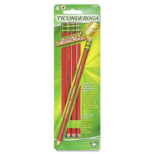 Ticonderoga Erasable Checking Pencils, Eraser Tipped, Pre-Sharpened, Set Of 4, Red (13941)(2Pack)