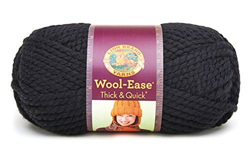 Lion Brand Yarn 640-153 Wool-Ease Thick and Quick Yarn, Black