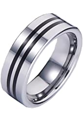 8mm Polished Tungsten Carbide Ring with Ceramic Inserts