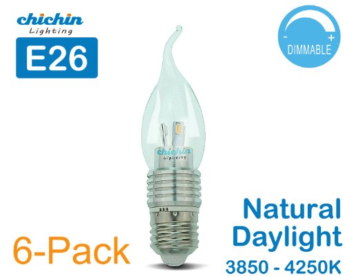 Chichinlighting® 6-Pack Dimmable E26 5W Led E26 Base Candle Bulb Light Bulbs 40W 3850 - 4250K Natural Daylight Lamps Bent Tip
