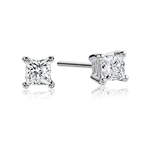 Platinum Princess-Cut Diamond Stud Earrings (1/2 cttw, G-H Color, VS2 Clarity)