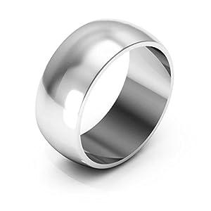 14K White Gold Men's & Women's Wedding Bands 8mm light half round, 13.5