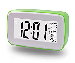ZHPUAT Smart Light Alarm Clock, Snooze, Nature Sound & Recording Ringing, Date, Temperature (C& F), Timer, Progressively Alarm, Both DC & Batteries Operated (Green)