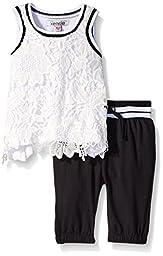 Kensie  Girls\' 2 Piece Knit Lace Crochet Tank Top and Capri Pant Set, White, 12 Months