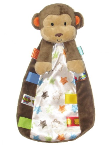 Taggies Monkey Plush Security Blanket with Rattle Monkey Head and Satin Backside by Taggies - Brown - Not Applicable