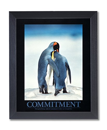 COMMITMENT Motivational Penguins Animal Wildlife Picture Black Framed Art Print (Framed Motivational Pictures compare prices)