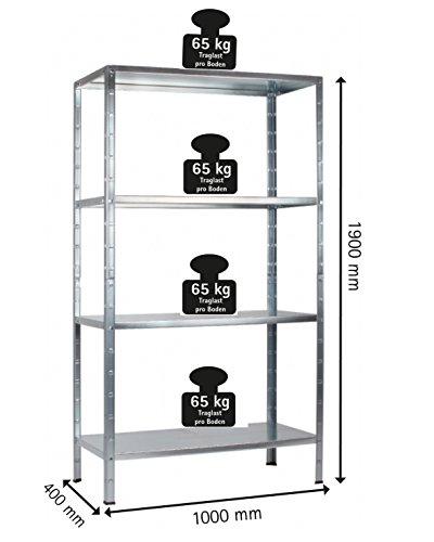 regal steckregal verzinkt metall 190x100x40cm regalsystem steckregalsystem 4 metall b den. Black Bedroom Furniture Sets. Home Design Ideas