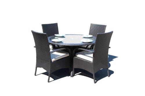 Kingston Black Outdoor Rattan Garden Circular 4 Seat Dining Set