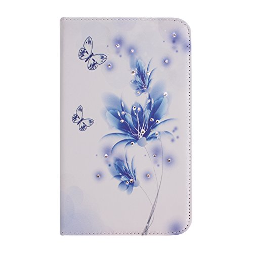 IKASEFU(TM) Girl's Cute Flower PU Leather Folio Case Protective Book Style Flip Cover Bling Case with Stand and Rhinestone for Samsung Galaxy Tab 3 7.0 7 inch Tablet SM-T210 / SM-T217 (Blue Flower)