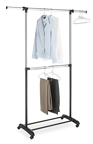 Whitmor Double Rod Adjustable Garment Rack, Black & Chrome (Whitmor Rack compare prices)
