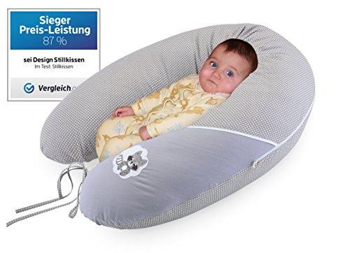 Sei Design bambino cuscino gravidanza, cuscino di cura XXL 190 x 30 cm, riempimento fibre, molto morbido e confortevole. Coprire con zip e ricamo di alta qualità