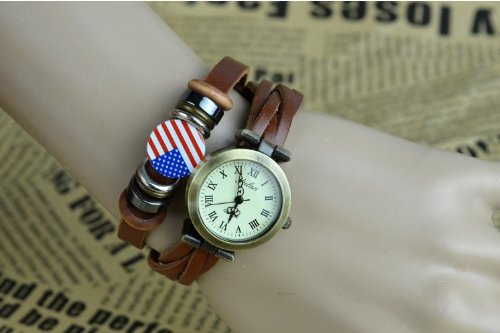 Kano Bak(Tm) Fashion Weave Wrap Around Press Button Leather Retro Bracelet Woman Girl Unisex Usa United States Flag Wrist Nice Gift Watch