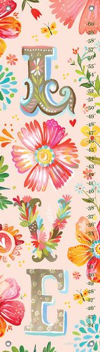 Oopsy Daisy Floral LOVE Stacked by Katie Daisy Growth Charts, 12 by 42-Inch