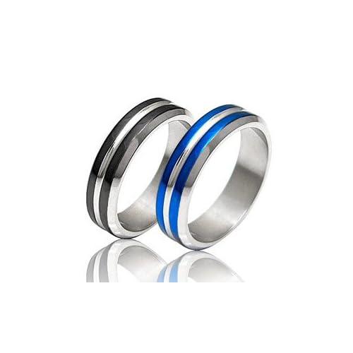 ステンレスアクセサリー リング・指輪 メンズ 青・ブルー 黒・ブラック ライン sr0098 【ブラック-09号】