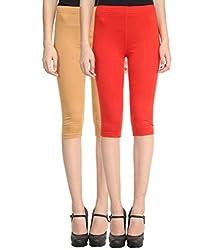 Vimal Pack Of 2 Multicolor Cotton Lycra 3/4th leggings-Capris For Women