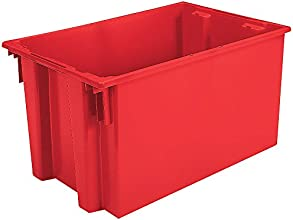 Akro-Mils Stack And Nest Tote Box - 30X20x15quot - Red - Red - Lot of 3