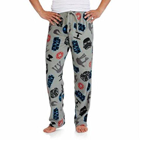 Star Wars Men's Plush Fleece Aircraft Lounge Sleep Pants (Medium) (Star Wars Tie)