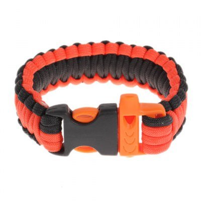Durable Curved Paracord Parachute Cord Outdoor Survival Bracelet With Whistle Buckle For Hiking Boating - Orange With Black