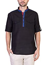 Desam Men's Linen Kurta Black 44