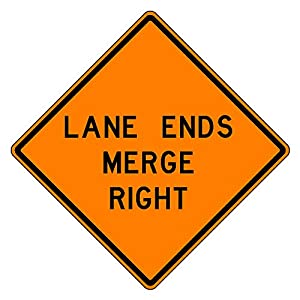 MUTCD W9-2 Orange Lane Ends Merge Right Sign, 3M Reflective Sheeting, Highest Gauge Aluminum,Laminated, UV Protected, Made in U.S.A