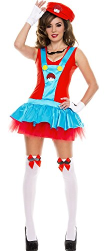 Womens MED/LG (8-12)-Playful Plumber Costume with Stockings (Sexy Plumber Costume compare prices)