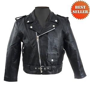 Kid's Motorcycle Leather Jacket KJ742 by Jafrum