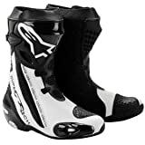 2220012 12 42 - Alpinestars 2012 Supertech R Motorcycle Boots 42 Black/White (UK 8)