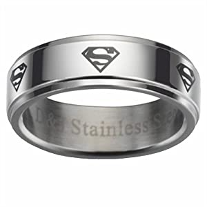 ARS Jewelry Superman Laster Symbol Mens Boys Stainless Steel Ring Size 11