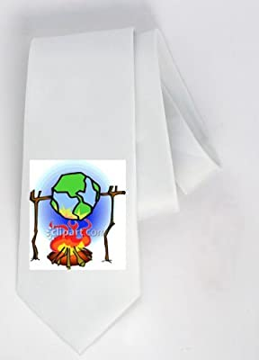 Party Decoration Necktie With The Image Of Pit Global Warming Fire Globe World Earth