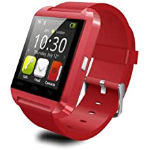 Celkon A119Q Signature HD COMPATIBLE Smart Android U8 Bracelet Watch and Activity Wristband, Wireless Bluetooth Connectivity Pedometer, RED, BY CASVO