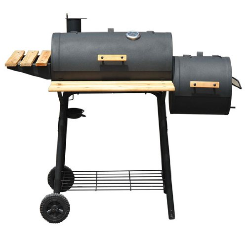 Outsunny 01-0329 Backyard Charcoal BBQ Grill/Offset Smoker Combo with Wheels (Bbq Smoker Grill Combo compare prices)