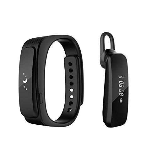 2016 neue Entwurfs-Universal-Bluetooth-Headset mit 0,91-Zoll-OLED-Multifunktions -Smart Watch abnehmbares Armband Fitness Tracker Funkkopfhörer für Apple iPhone 6/5S/5C/5, iPhone 4S/4, Samsung Galaxy S5/S4/S3, LG, PC Laptop, und anderen Bluetooth-Gerät (Schwarz)
