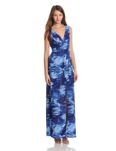 BCBGMAXAZRIA Women's Mae Maxi Dress With Front And Back V-Neck, Blue Combo, Small