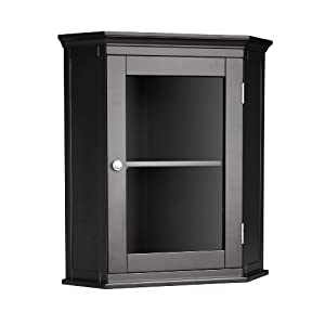 Elegant Home Fashions 7657 Madison Avenue Corner Wall Cabinet Dark Espresso