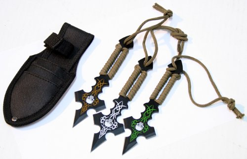 Set Of 3 Skull Design & Green String Throwing Knives With Sheath