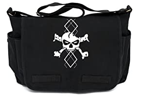 Black Canvas Argyle Skull Messenger Diaper Bag from Crazy Baby Clothing