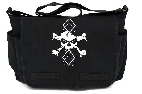 Black Canvas Messenger Satchel Diaper Bag with White Argyle Skull - 1