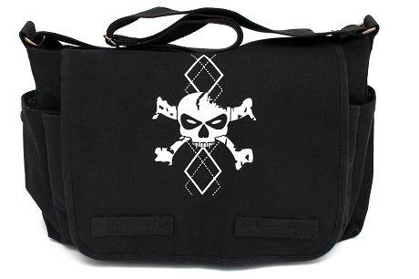Black Canvas Messenger Satchel Diaper Bag with White Argyle Skull - 1