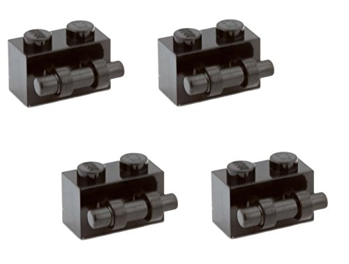Lego Parts: Brick, Modified 1 x 2 with Handle (PACK of 4 - Black)