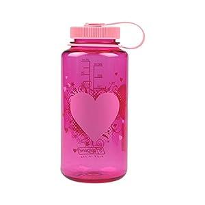 Nalgene Wide Mouth Water Bottle, 1-Quart, Pink Heart