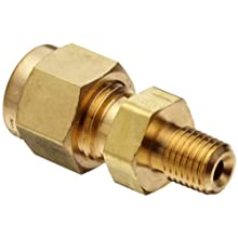 "Parker A-Lok 2MSC4N-B Brass Compression Tube Fitting, Adapter, 1/8"" Tube OD x 1/4"" NPT Male"