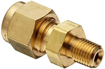 "Parker A-Lok 4MSC2N-B Brass Compression Tube Fitting, Adapter, 1/4"" Tube OD x 1/8"" NPT Male"