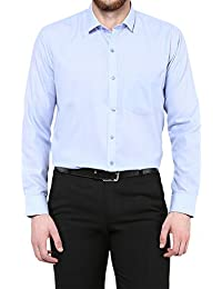 Urban Fashion Sky Blue Full Sleeves Poly Cotton Slim Fit Collared Formal Shirt For Men