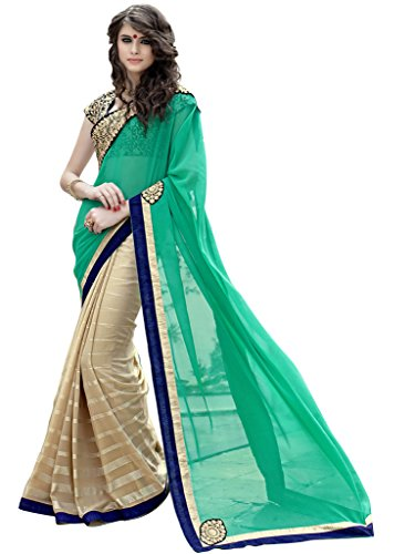Lovely Look Latest collection of Sarees in Georgette & Chiffon Fabric & in attractive Green & Beige Color