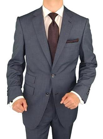 Bianco B Men's Suit Two Button 2 Piece Suit Ticket Pocket Side Vent Jacket French Blue (36 Regular US)